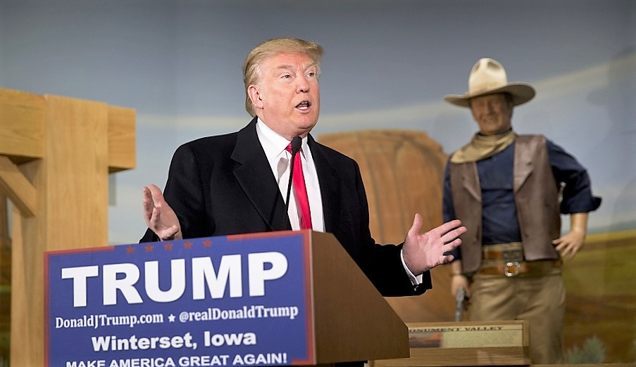 Republican presidential candidate Donald Trump speaks during a news conference at the John Wayne Museum Tuesday, Jan. 19, 2016, in Winterset, Iowa. (AP Photo/Jae C. Hong)
